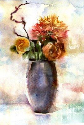 Canvastavlor Akvarell bukett blommor