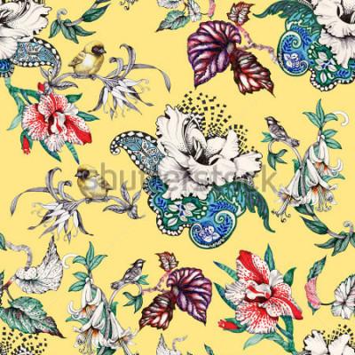 Canvastavlor Akvarell handgjorda sömlösa mönster med tropiska sommarblommor och exotiska fåglar på gul bakgrund