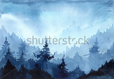 Canvastavlor Akvarell handritadillustration med Winter Forest. Vinterlandskap med julgranar. Julkort