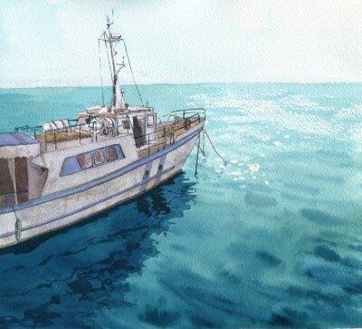 Canvastavlor akvarell havet landskap med båtar