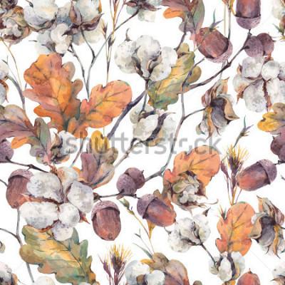 Canvastavlor Akvarell höst vintage bakgrund med kvistar, bomull blomma, gula ek löv och ekollon. Botaniska akvarell illustrations seamless pattern