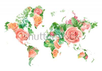 Canvastavlor Akvarell illustration av världskarta i blommor. Galleri för DIY-projekt, bröllopsinbjudningar, gratulationskort, afficher, bloggar, hemsida