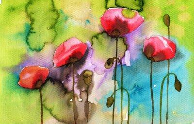 Canvastavlor akvarell illustration som visar vårblommor på ängen