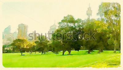 Canvastavlor akvarell illustration sydney central park