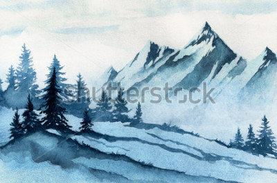 Canvastavlor Akvarell illustration. Vinter berglandskap, träd, himmel.