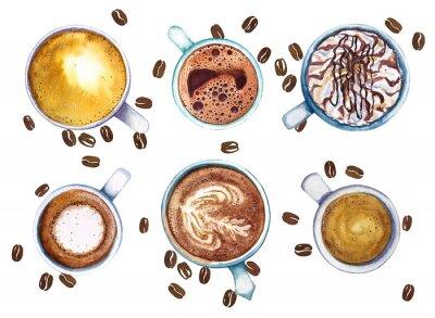 Canvastavlor Akvarell koppar kaffe, isolerad på vit bakgrund med kaffebönor, topp utsikt.