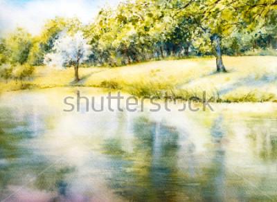 Canvastavlor Akvarell landskap. Sommarpark. Natur. Akvarell botanisk illustration. Landskap med en sjö. Kust