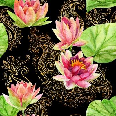 Canvastavlor akvarell lotusblomma på gyllene ornament. Seamless mönster