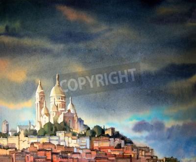 Canvastavlor Akvarell målning av Montmartre i Paris stad, Frankrike.