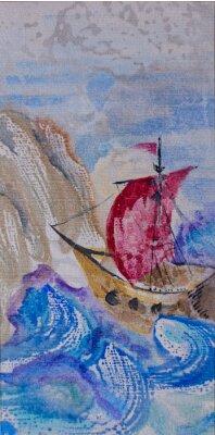 Canvastavlor Akvarell marinmålning med fartyg som seglar i ett stormigt hav till LAN