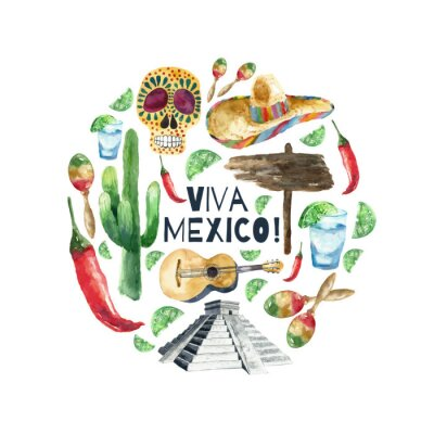 Canvastavlor Akvarell mexico ikoner.