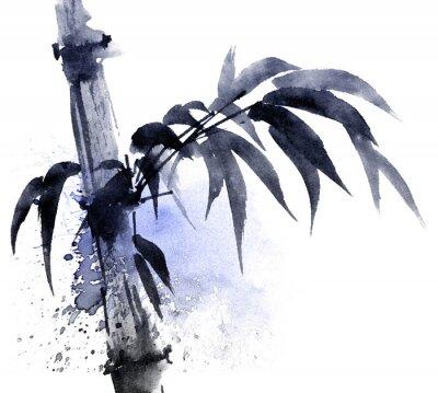 Canvastavlor Akvarell och bläck illustration av bambu med färg vattenstänk. Orientalisk traditionell målning i stil sumi-e, u-synd. Konstnärlig illustration.