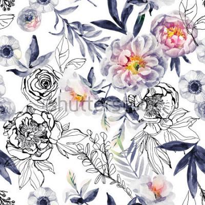 Canvastavlor Akvarell och bläck klotter blommor, löv, ogräs sömlöst mönster. Handmålade, tecknade blommig bakgrund med peonies, anemoner, ranunculus, hundrosa gren, äng örter