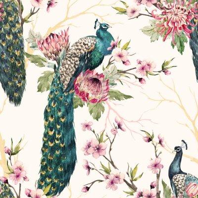Canvastavlor Akvarell påfågelmönster