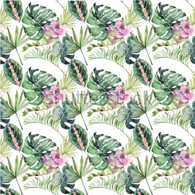 Canvastavlor Akvarell prydnad med tropiska blommor och gröna löv för bröllopsinbjudningar, termin, gratulationskort, affischer, böcker, kuvert, fotoalbum. Illustration på den nya bakgrunden.