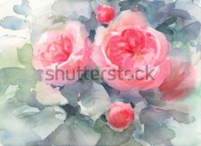 Canvastavlor Akvarell rosor blommor bakgrund målad bakgrund textur handmålade