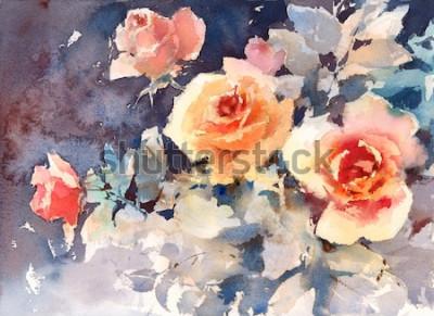 Canvastavlor Akvarell rosor blommor blommig bakgrundstextur Handmålad