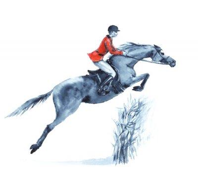 Canvastavlor Akvarell ryttare och häst, hoppa ett hinder i skogen på vitt. Ryttaren i röd jacka på att hoppa steeplechase konkurrens. England ridsport. Hand ritning illustration.