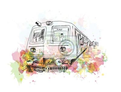 Canvastavlor Akvarell skiss av Mumbai lokaltåg i vektor illustration.