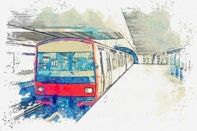 Canvastavlor Akvarell skiss eller illustration av tunnelbanan i Lissabon i Portugal. Traditionell tunnelbanestation vid tunnelbanestationen