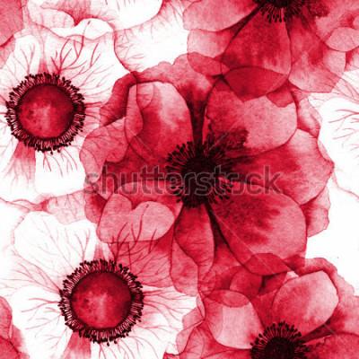 Canvastavlor Akvarell sömlös mönster med anemoner. Rasterstruktur för banderoll, inbjudan eller annan design.