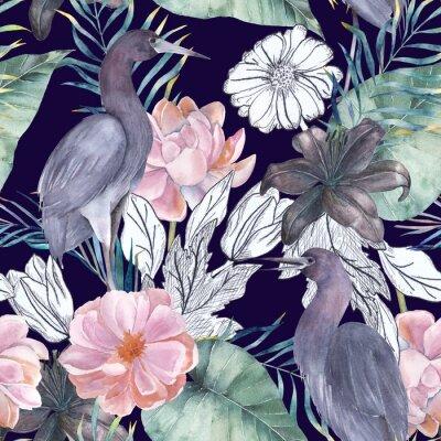 Canvastavlor Akvarell sömlös mönster med bläckelement. Exotiska fåglar och blommor. Handritad illustration