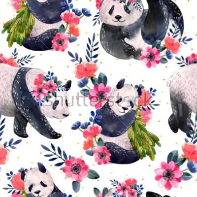 Canvastavlor Akvarell sömlös mönster med pandaer och blommor isolerade på en vit bakgrund. Gyllene stjärnor på bakgrunden. Akvarell illustration.
