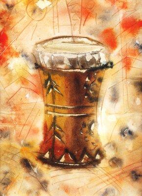 Canvastavlor Akvarell stilleben med en tom-tom