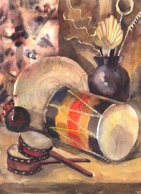 Canvastavlor Akvarell stilleben med en trumma