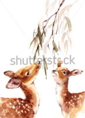 Canvastavlor Akvarell Två Deers Se upp till Brunch med löv Handmålade isolerad på vit bakgrund