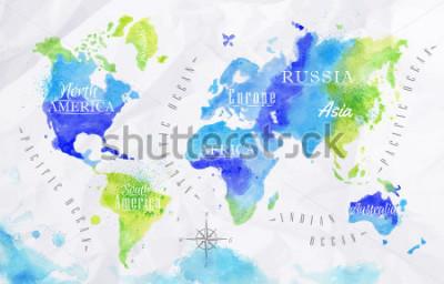 Canvastavlor Akvarell världskarta i grön och blå färger på en bakgrund av krämigt papper