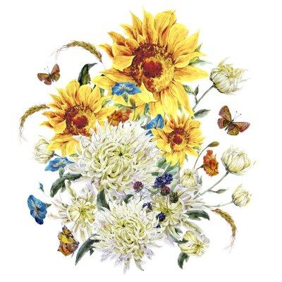 Canvastavlor Akvarell vintagekort med krysantemum, solrosor och rumpa