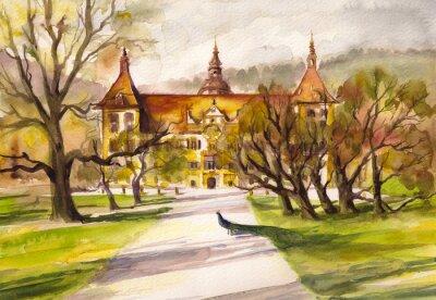 Canvastavlor Akvarellillustration av påfågel i parken och framför fasaden på Eggenberg slott i Graz, Styria, Österrike