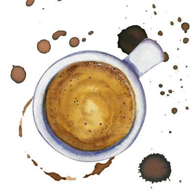 Canvastavlor Akvarellkopp kaffe espresso med fläckar och kaffemärken runt, toppvy.