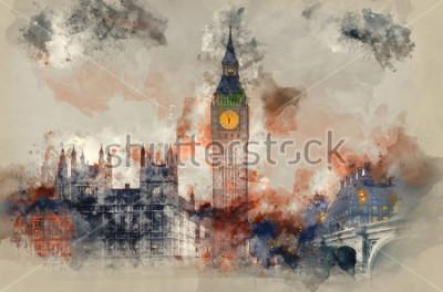Canvastavlor Akvarellmålning av Big Ben och parlamentets hus under vinterns solnedgång.
