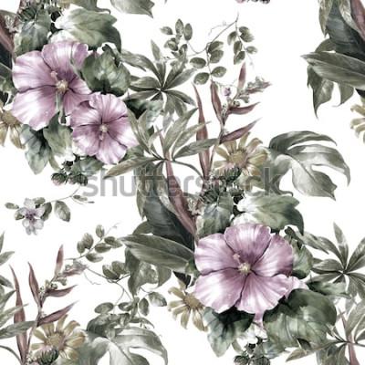 Canvastavlor Akvarellmålning av blad och blommor, sömlös modell på vit bakgrund