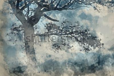 Canvastavlor Akvarellmålning av vackert landskap av landskap runt Cummock vatten i höst på dimmig morgon