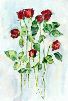 Canvastavlor Akvarellmålning. Röda rosor med gröna blad på en långa stjälkar.