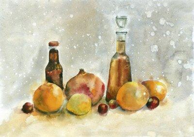 Canvastavlor Akvarellmålning. Stilleben med apelsiner, granatäpple och flaskor på vintage bakgrund.