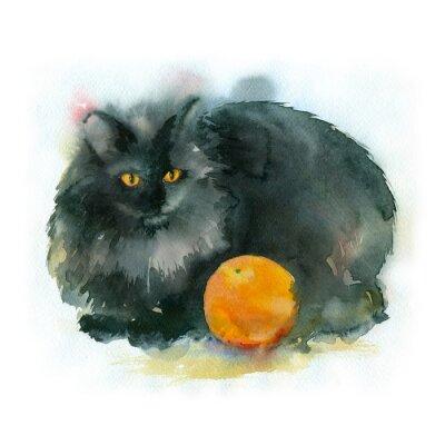 Canvastavlor Akvarellmålning. Svart katt med apelsin.