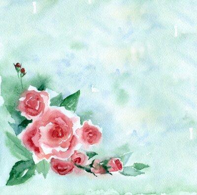 Canvastavlor Akvarellmålning. Vintage bukett röda rosor på en grön suddig bakgrund.