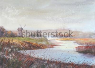 Canvastavlor Akvarellmålningslandskap. Flod och gammal väderkvarn. Vattenfärg handritad illustration.