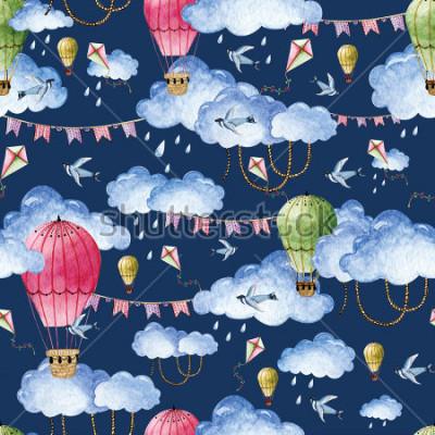 Canvastavlor Akvarellmönster med ballonger och moln