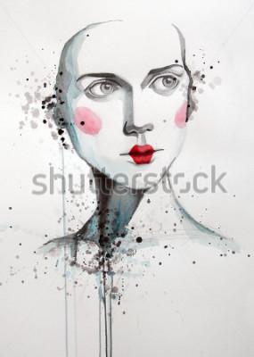 Canvastavlor akvarellporträtt av vacker kvinna | handgjorda | självtillverkade | Målning