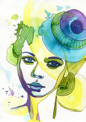 Canvastavlor Akwarelowy portret kobiety