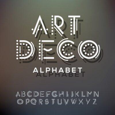 Canvastavlor Alfabetet bokstäver samling, art deco-stil