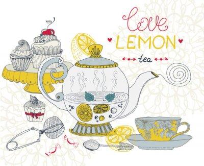 Canvastavlor älskar citronte kortet