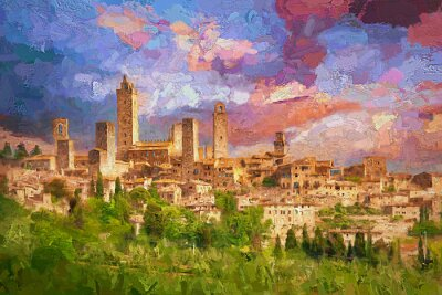 Canvastavlor Amazing landscape view of San Gimignano is a small walled medieval hill town during colorful evening sunset in summer time, Tuscany, Italy.- oil painting