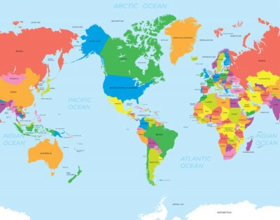 Canvastavlor Amerikansk världskarta
