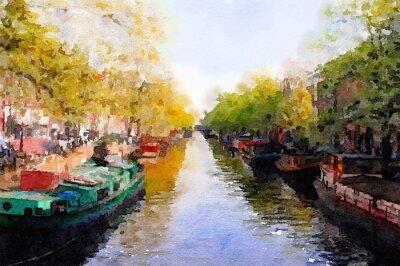 Canvastavlor Amsterdam Canal
